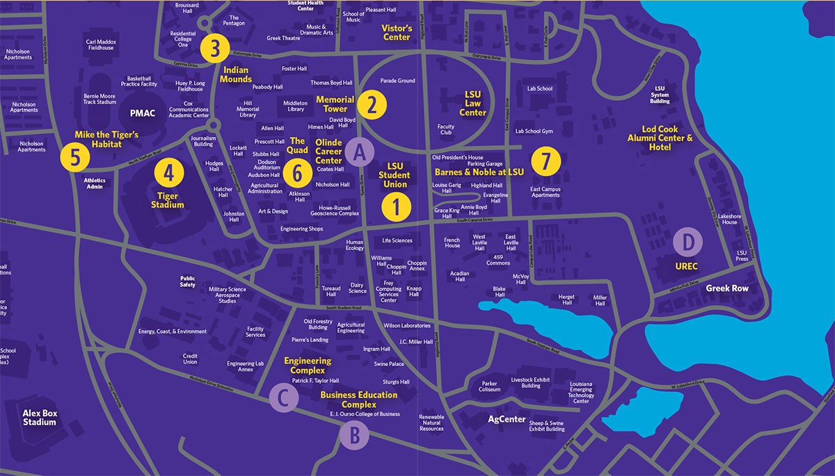 lsu parking map with C Us Map on Kennedy Center Eisenhower Theater Seating Chart further C us Map further Att Stadium further Att Stadium as well Asu C us Map.