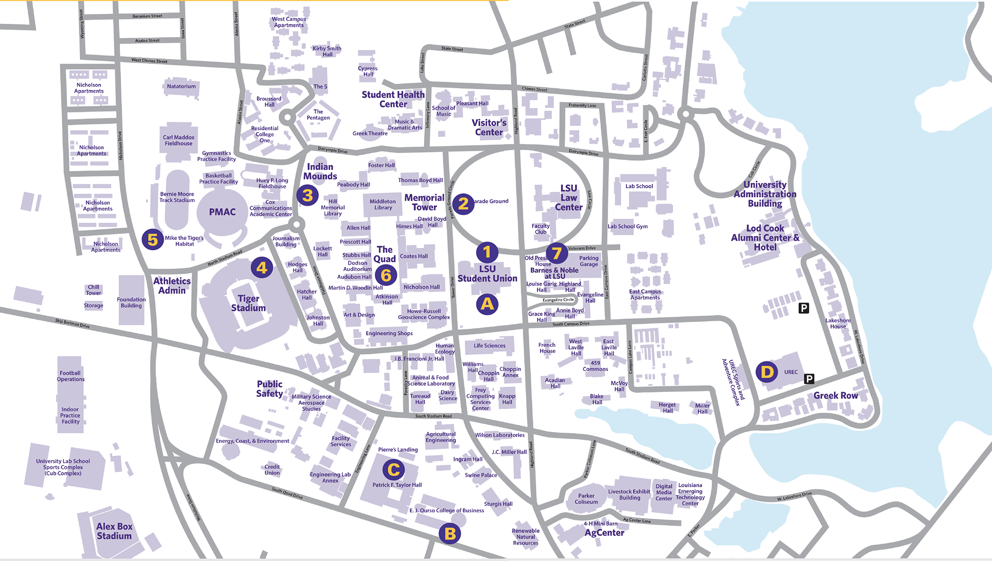 CAMPUS MAP | Louisiana State University Visitor\'s Guide