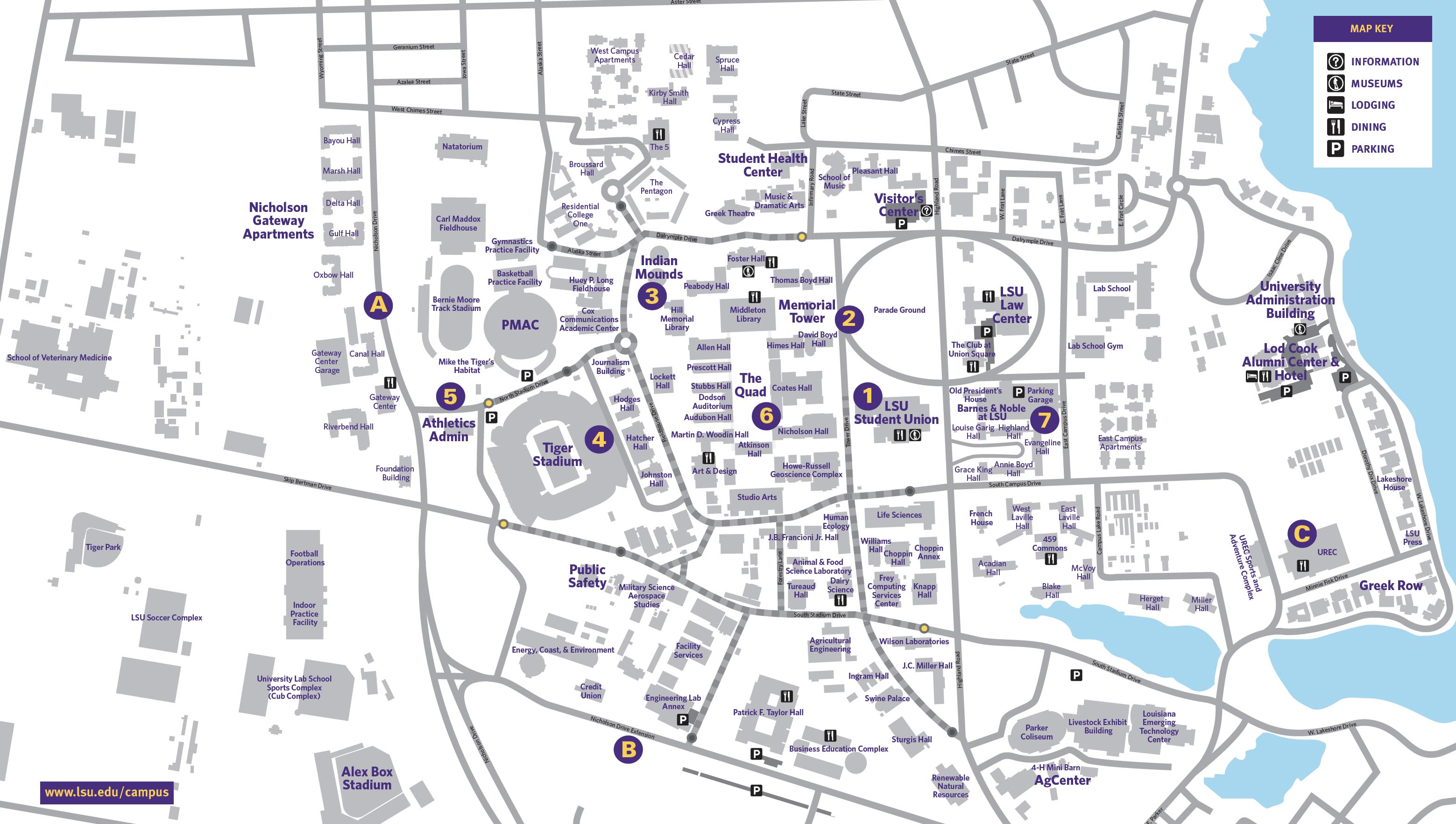 photo relating to Printable Map of Louisiana named CAMPUS MAP Louisiana Region College or university Site visitors Direct